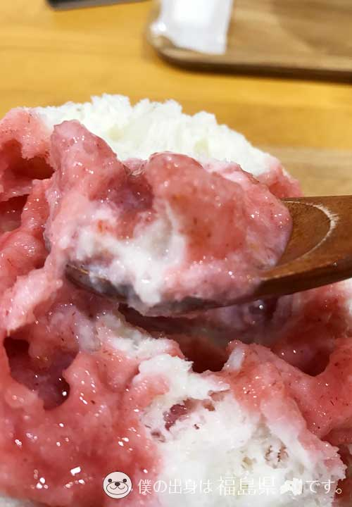 雪菓のかき氷を食べる瞬間