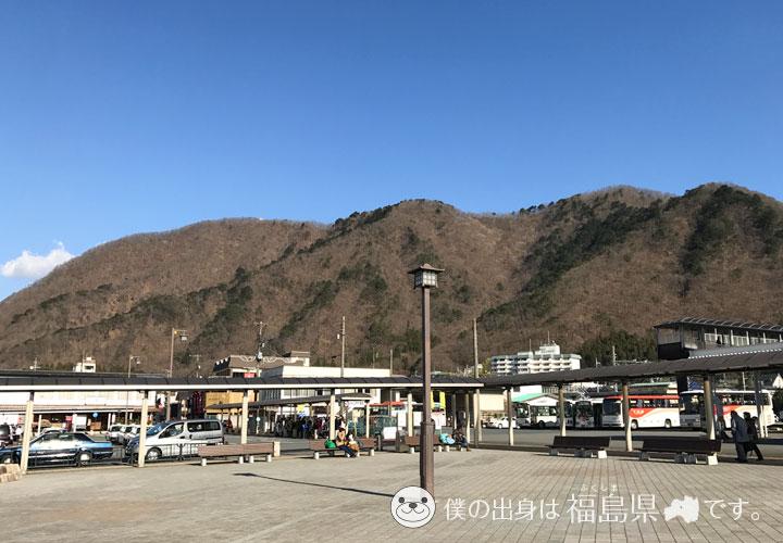 鬼怒川温泉駅前の景色