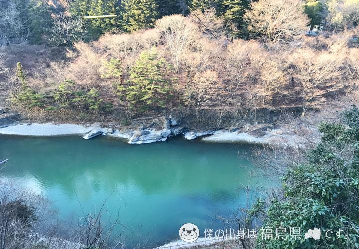 緑色に濁った鬼怒川