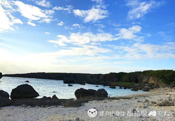 中の島ビーチは岩がたくさん