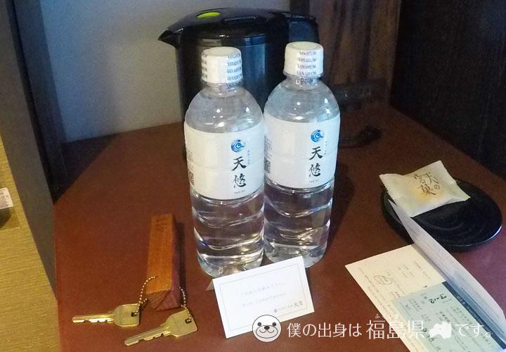 おもてなしの水と和菓子